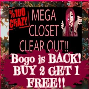 buy 2 Get 1 FREE! All items in closet!